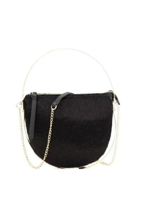 Semi-Circle Faux Fur Crossbody Bag