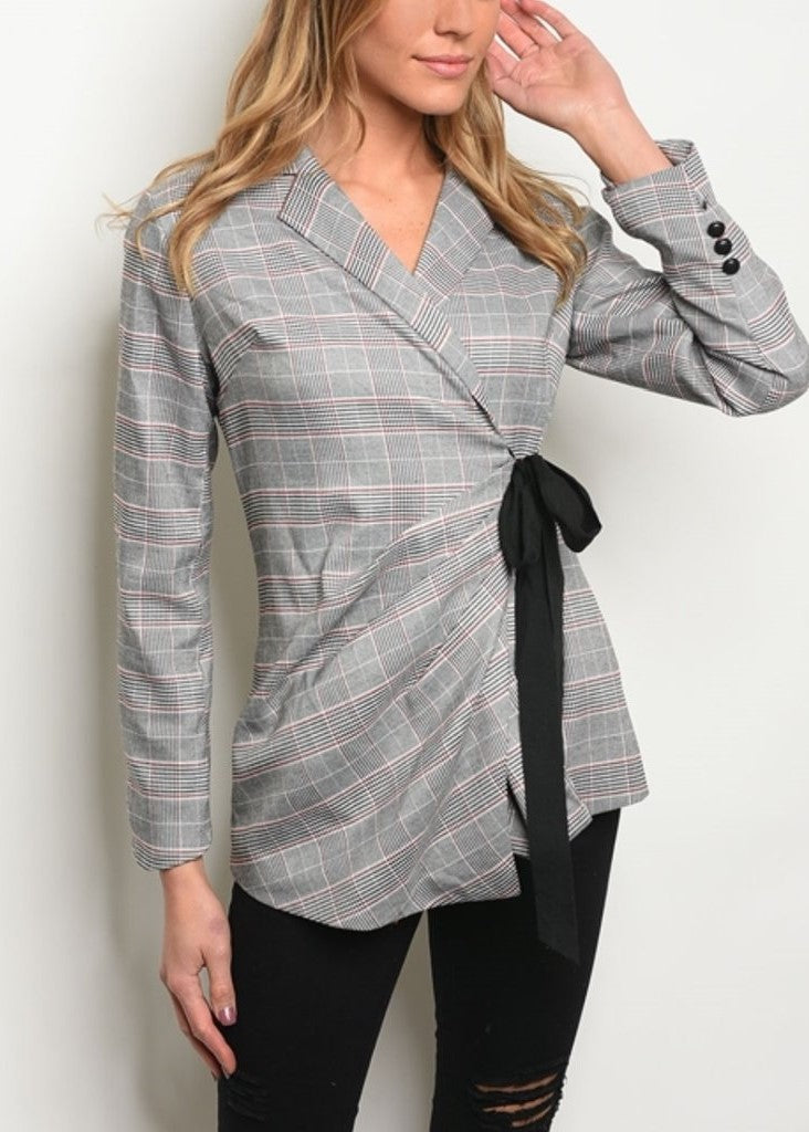 Gray Red Checkered Blazer
