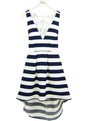 Hi Low Navy Stripe Dress