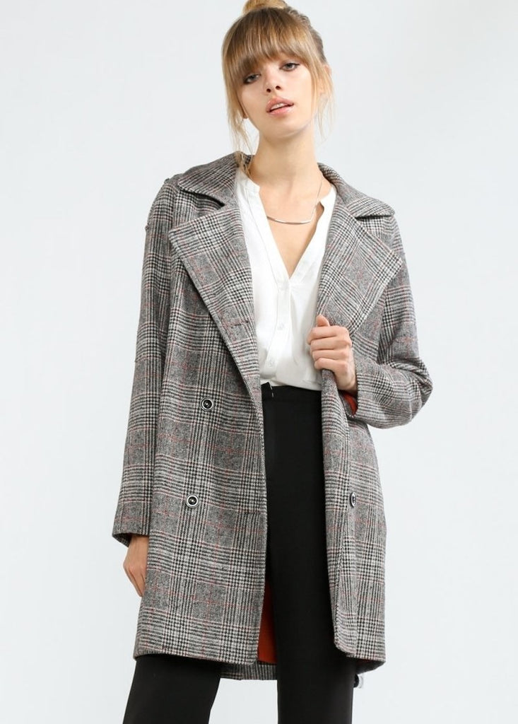 Rust Wool Checked Trench Coat