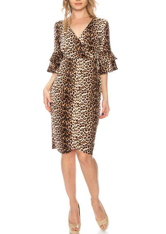 Leopard Print Bell Sleeve Side-tie Faux Wrap Dress