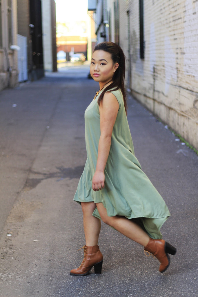 Olive Hi Low Midi Dress