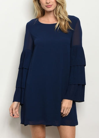 Navy Tiered Bell Sleeves Dress