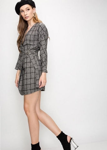 Plaid Structure Wrap Dress