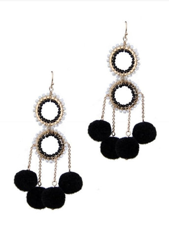 Dangling Pompom Earrings