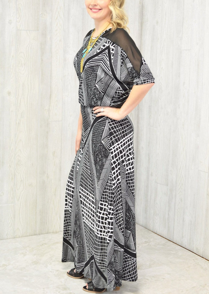 Tribal Mesh Maxi Dress