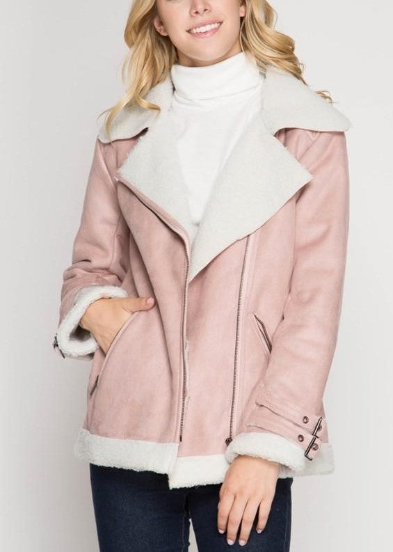 Faux Shearling Suede Rider Jacket