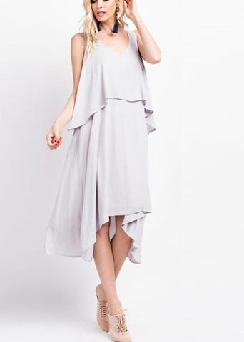 Sleeveless Layered Midi Dress With Back Slit