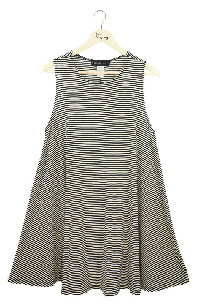 Striped Sleeveless Long Top  PLUS SIZE