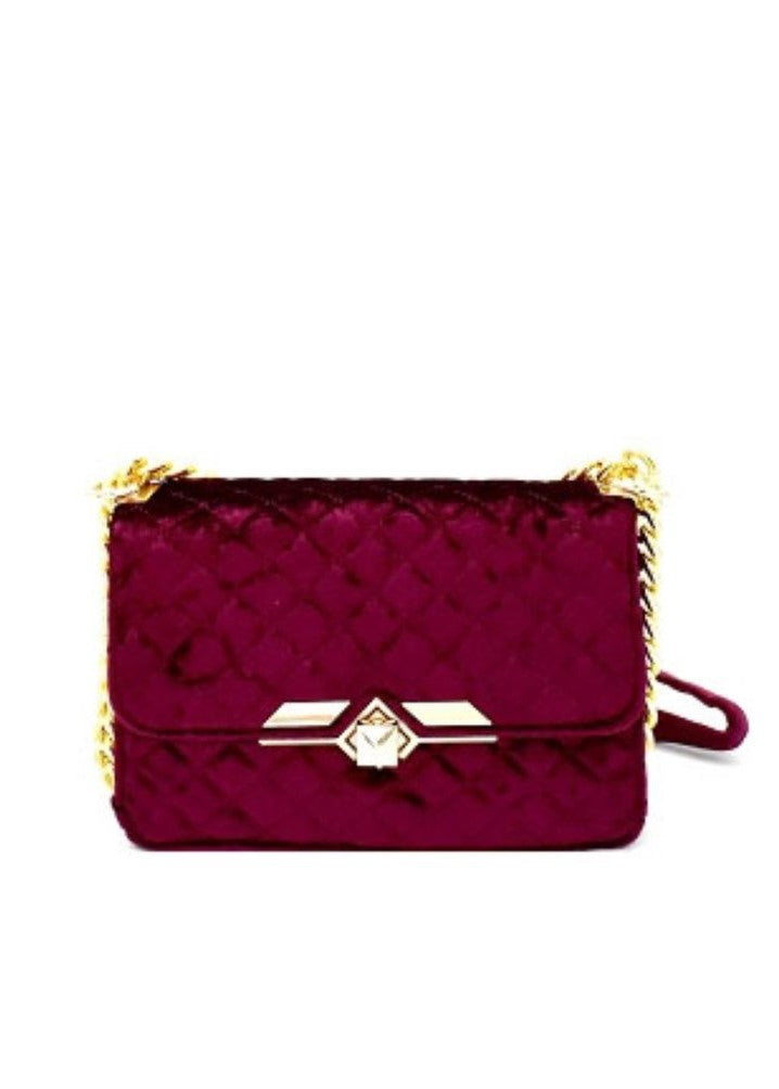Burgundy Quilted Velvet Shoulder Bag