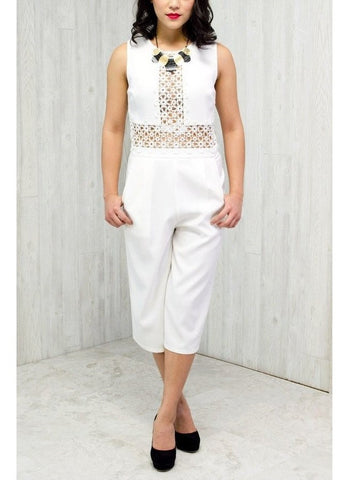 White Lace Panel Jumpsuit