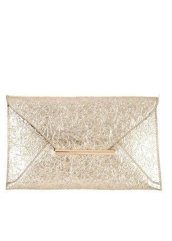 Wrinkled Gold Faux Leather Clutch Bag