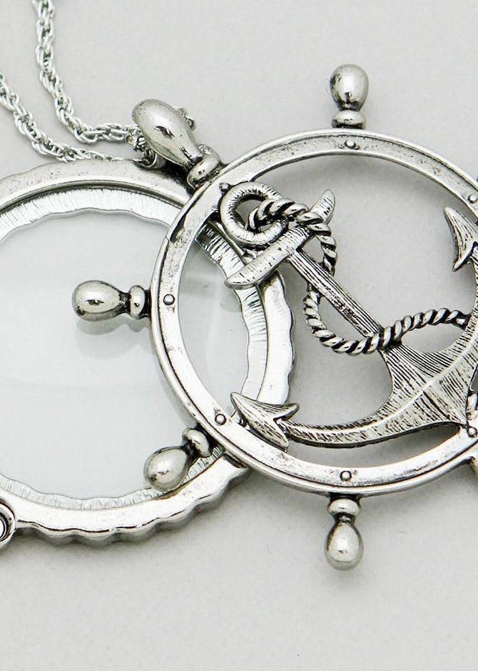 Anchor Mirror Ship Magnifying Glass Necklace