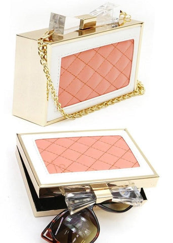 Gold Metal Frame Acrylic Bow Top Clutch
