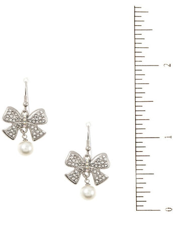 Bow Drop Pearl Dangling Earrings
