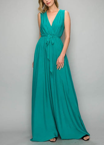Sleeveless Emerald Maxi Dress