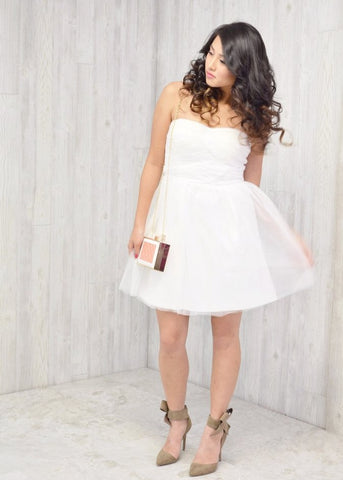 Strapless Ruched Bodice Tulle Dress