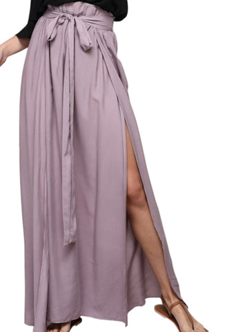 Lilac High Slit Wrap Maxi Skirt
