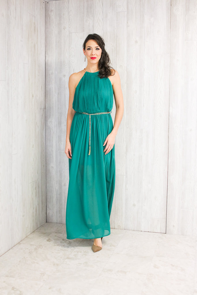 Halter Chain-Neck Pleated Maxi Dress