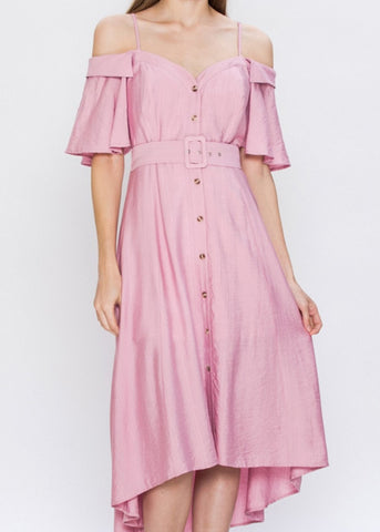 Peony Off the Shoulder Midi Dress