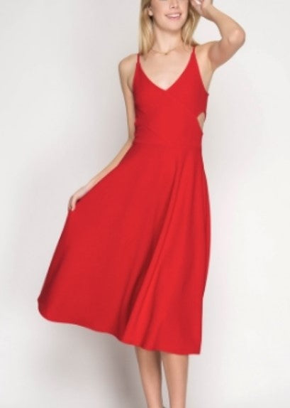 Red Cut Out Midi Dress