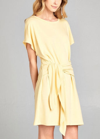 Yellow Wrap Shirt Dress