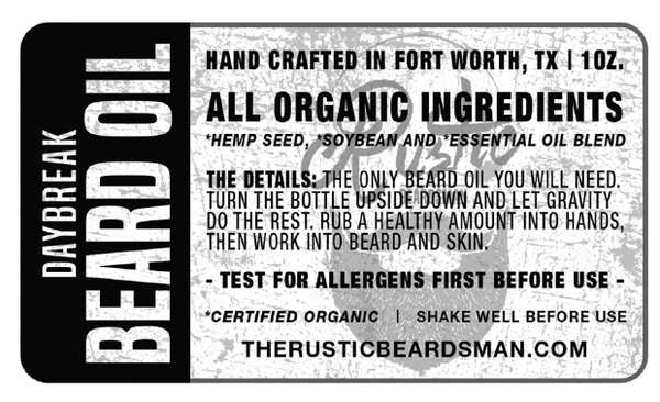 Rustic Beardsman Beard Oil Daybreak Product Label