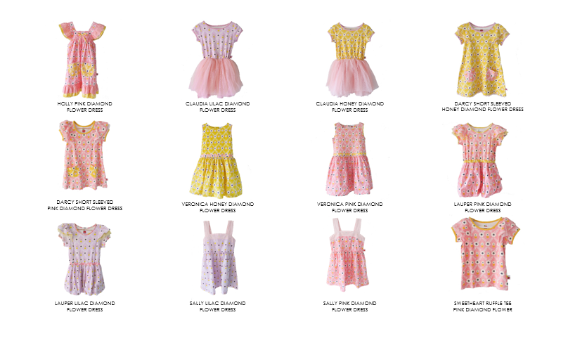 Pink, yellow, and lilac flower dresses