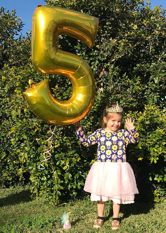 A girls wearing a navy and pink tulle dress and a tiara, holding up 5 fingers and a number 5 balloon