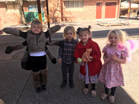 Kids dressed up in costumes for Book Week