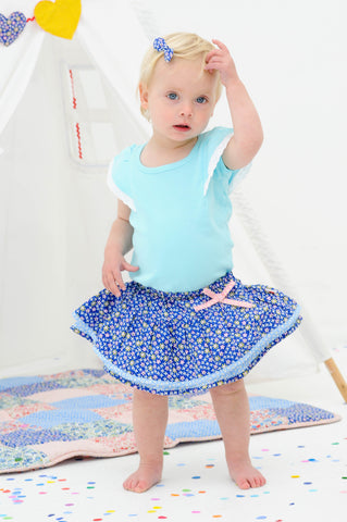 Blossom Navy Ditsy Skirted Bloomer, Sizes in 6M - 2Y - The Happiness Blog | Oobi Girls Kid Fashion
