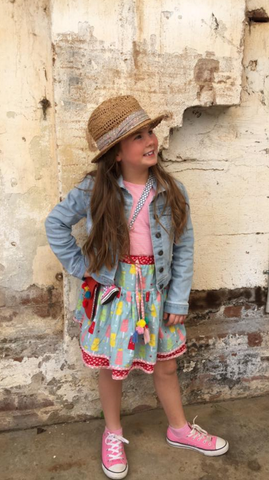 Phoebe styling out in the Zoe Strawberry Stripe Princess Ice Cream Dress - The Happiness Blog | Oobi Girls Kid Fashion