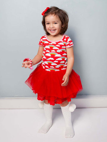 Claudia Red Rainbow Dress, Sizes in 2Y - 8Y - The Happiness Blog | Oobi Girls Kid Fashion