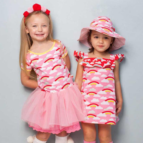 Claudia Pink Rainbow Dress, Sizes in 2Y - 8Y Rosie Set, Sizes in 1Y - 4Y (with free shorts) - The Happiness Blog | Oobi Girls Kid Fashion