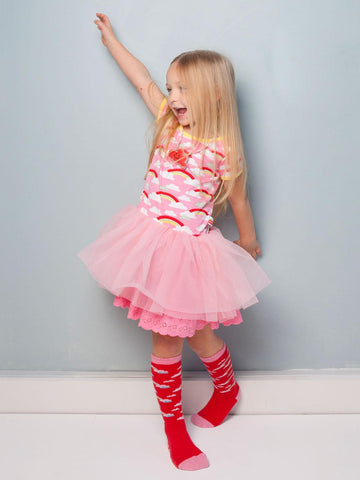 Claudia Pink Rainbow Dress, Sizes in 2Y - 8Y - The Happiness Blog | Oobi Girls Kid Fashion
