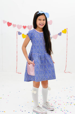 Long Weekend Navy Ditsy Dress, Sizes in 3Y - 11Y - The Happiness Blog | Oobi Girls Kid Fashion