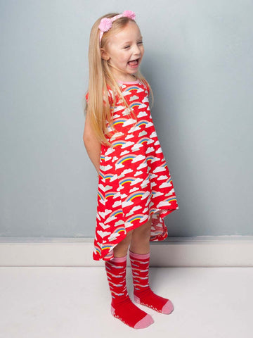 Mabel Red Rainbow Dress, Sizes in 2Y - 10Y - The Happiness Blog | Oobi Girls Kid Fashion