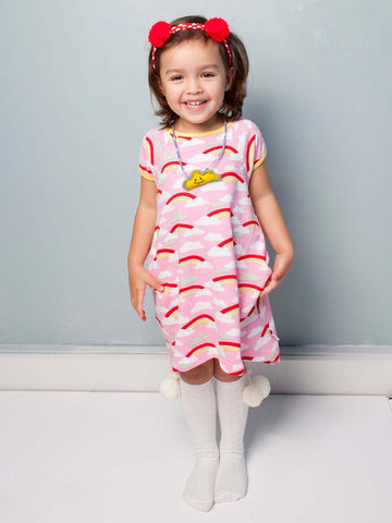 Mabel Pink Rainbow Dress, Sizes in 2Y - 10Y - The Happiness Blog | Oobi Girls Kid Fashion