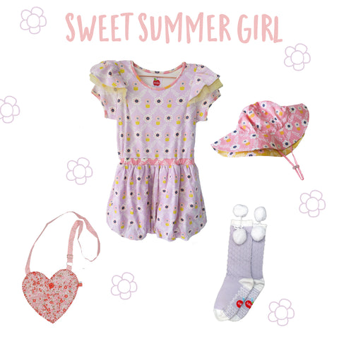 Purple flower bubble dress, pink flower hat, heart bag, purple socks