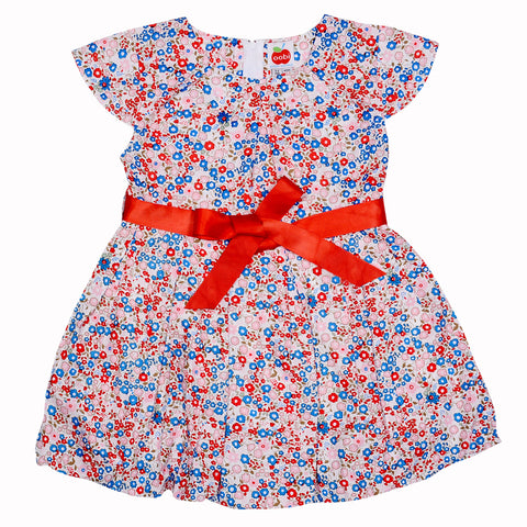 Sabrina French Primrose Dress (shown with both belt options), Sizes in 2Y - 12Y - The Happiness Blog | Oobi Girls Kid Fashion