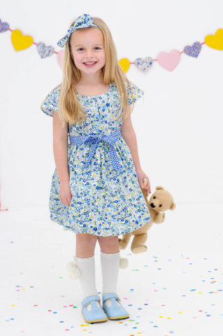 Sabrina Navy Primrose Dress, Sizes in 2Y - 12Y - The Happiness Blog | Oobi Girls Kid Fashion