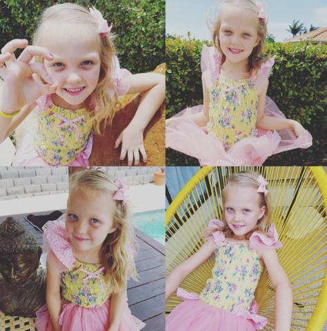 Miss Ivy loving her Lucia Lemon Painted Floral Tutu Dress - The Happiness Blog | Oobi Girls Kid Fashion