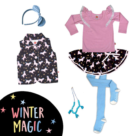 Unicorn skirt and vest, tees and tights for girls