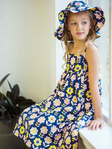Blue flower dress and hat