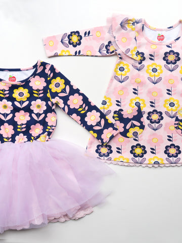 Claudia Dress and Pink Darcy Dress Scandi Flower