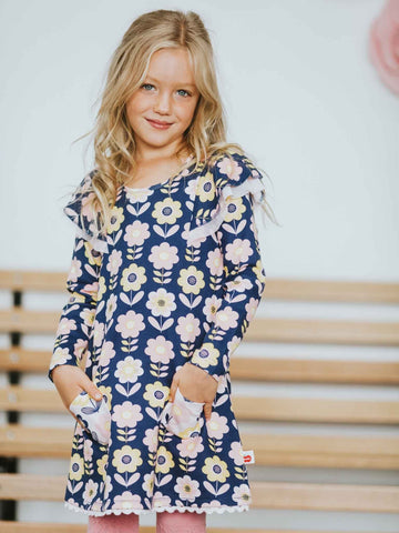 Darcy Navy Scandi Flower Dress
