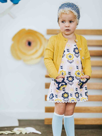 Mustard Maxine with Darcy Dress in Pink Scandi Flowers