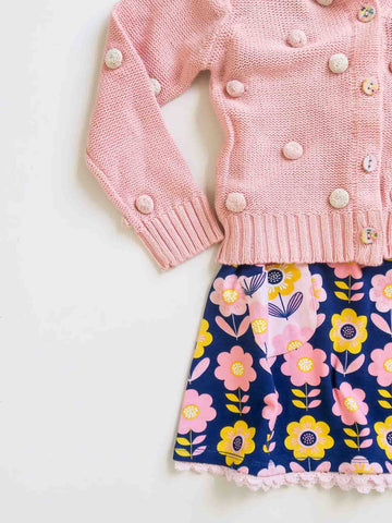 Pink Bobble Cardigan and Darcy Dress in Navy Scandi Flowers