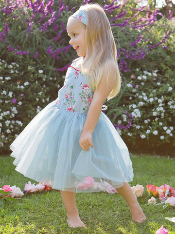 Smiling girl in a garden wearing a blue tutu dress