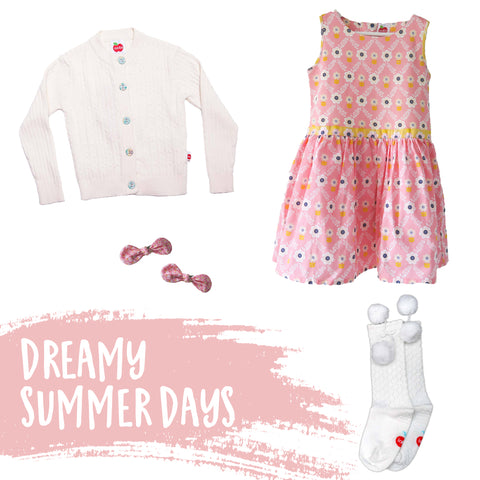 Pink flower dress, cardigan, and socks